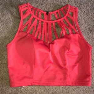 Tops - Salmon colored crop top with padded cups